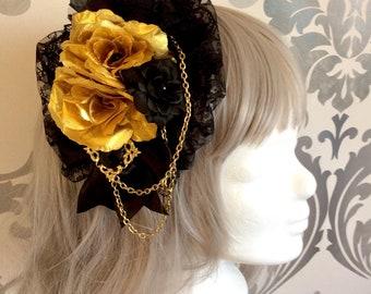Pretty Gothic Lolita Headdress, key, pendant, lace, gold, black, roses, chain, headpiece, headband, fascinator, pearls