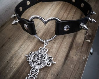 Leather Heart Necklace silver crucifix naked goth spike ♠ 666 Pentagram 666 ♠