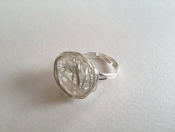 SJC10256 - Silver-plated wire wrapped ring with recycled chandelier crystal