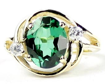 Russian Nanocrystal Emerald, 14KY Gold Ring R021