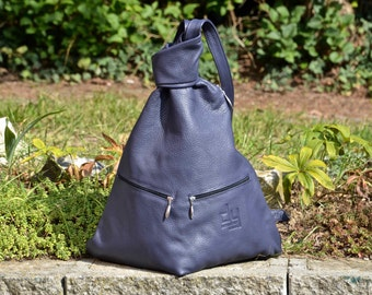Leather Backpack BLUE REAL