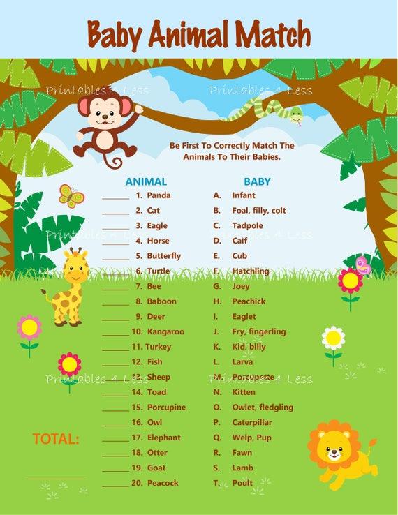 Safari Baby Animal Match Baby Animal Name Game Jungle Animal - photo#25
