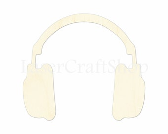 "2"" - 34"" Headphones Wooden Cutout Shape, Silhouette, Gift Tags Ornaments Laser Cut Birch Wood  #1135"