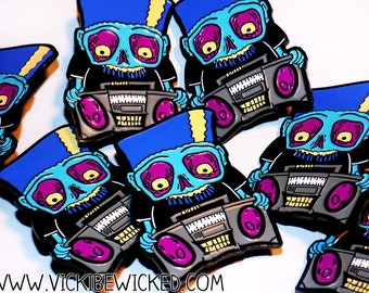 Zombie and BoomBox Enamel Pin 1.5 Inches