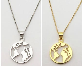 World Necklace Silver and gold Vermeil