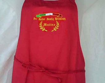 "Italian GENEALOGY Your ""Family Name"" Personalized Embroidered Italian Apron - 100% COTTON"