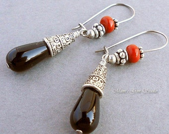 Black Onyx Red Jasper Gemstone Earrings with Hypoallergenic Stainless Steel Earwires, Handcrafted