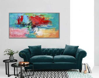 "Modern Wall Art Abstract Painting Red Blue Acrylic Painting Canvas Art Original Abstract Art Modern Interior Decor Painting 24x48""/60x120cm"