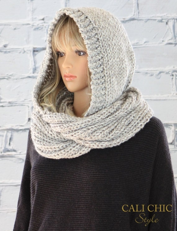 Celine Hooded Scarf Pattern 802 Knit Hooded Infinity Scarf