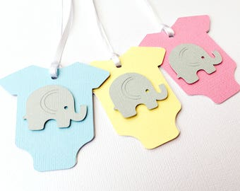 Pastel Elephant baby shower Gift Tags. Grey elephant. Baby-romper Onepiece shape. Baby boy girl, gender reveal. Pink blue purple yellow mint