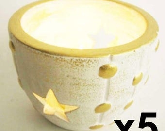 Star 5 candles white and gold form