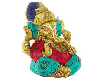 Brahmz Spiritual Brass Ganeshji Stonework Sitting Ganesha 4 INCH