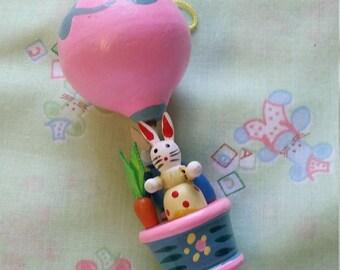 pastel pink wooden hot air balloon ornament