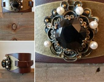 Vintage Ruby Brooch  Leather Cuff Bracelet