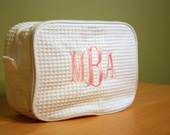 2 Compartment Cosmetic Bag - Personalized Monogrammed Make-up Wedding Gift Bridesmaid Gift