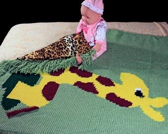 Baby Blanket, Crochet, Stroller Blanket, Crib Blanket, Giraffe, Kids TV Blanket, Faux Fur Lined, Winter Blanket, Toddler  Blanket,