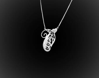 Infinite Cascade of embroidered silver necklace