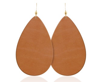 Leather earrings, tan leather teardrop earrings, leather teardrop earrings