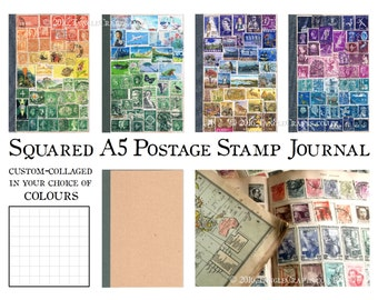 Travel Journal, Graph Grid | Custom A5 Travelers Notebook TN Insert | Colourful Journal, Postage Stamp Travel Art | Bohemian Philately Gift