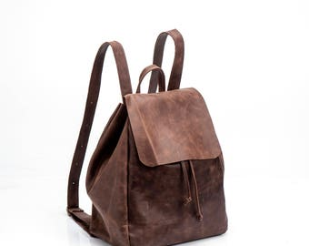 Brown Leather Backpack, Handmade Backpack, Travel Bag, School Bag, Brown Leather Bag, Handmade backpack, Sale!
