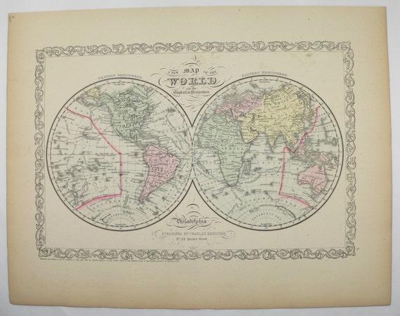 Old world map eastern hemisphere western hemisphere map 1858 te gusta este artculo gumiabroncs Gallery