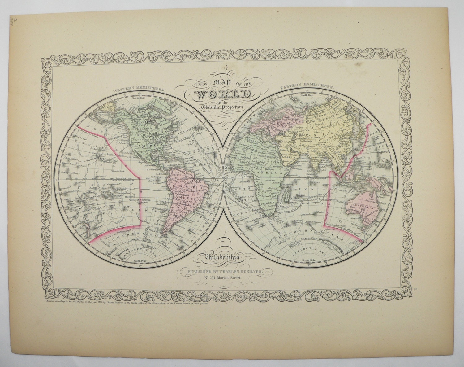 Old world map eastern hemisphere western hemisphere map 1858 zoom gumiabroncs Images