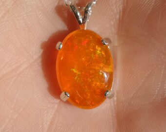 Orange Ethiopian Fire Opal Pendant Necklace Sterling Silver .925 Hand Crafted October Birthstone Bridal