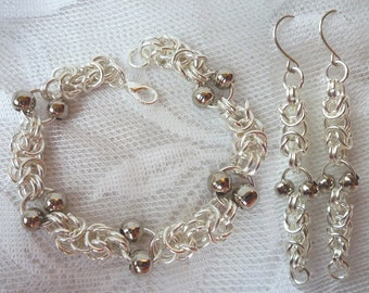 Byzantine chainmaille bracelet sets, silver or gold finish bracelet & earrings, beaded chainmaille, industrial style, gifts for her