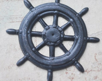 TWO Steampunk pirate ship wheel brass stampings, Black Satin Finish, Brass Stampings for Jewelry Making and Crafting