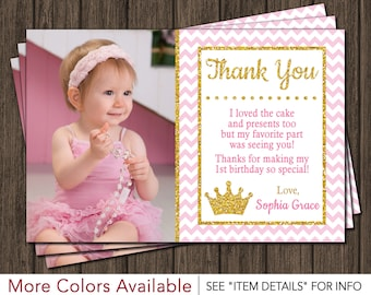 Princess Thank You Card | Princess, Pink and Gold, Birthday Thank You Card