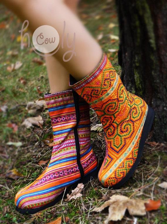 Tribal Boho Hippie Orange Vegan Boots Women's Hmong Boots Women's Boots Boots Boots Vegan Ethnic Boots Boots Tribal Boots Boots dfxxZP6wOq