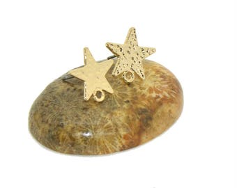 Star studs earrings 4 holders gold 13mm
