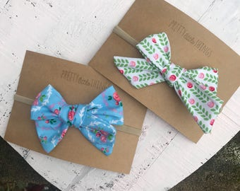 Tea Party Collection part 1 - floral bows nylon headband or clips