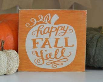 Happy Fall, Y'all| Fall Decor| Pumpkin Decor| Thanksgiving| Halloween| Pumpkin Patch| Hand Painted Wood| Gallery Wall| Entryway|Housewarming