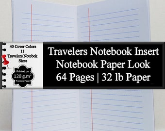 Travelers Notebook Insert Lined Notebook Paper Look Journal Notebook Writing Journal Lined Diary Journal Daily Diary Blank Journal