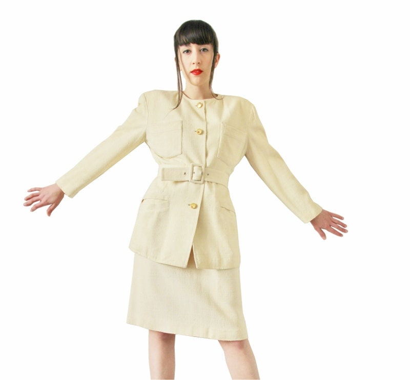 80s Courrèges silk skirt suit off white cream French vintage