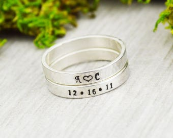 Sterling Silver Stacking Rings • Handcrafted Stack Ring Set • Personalized Ring