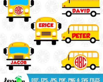 School Bus Svg, Yellow Bus, Back To School DXF, Teacher Monogram, First Day of School,  Instant Download 84
