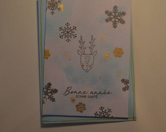 Greeting card - Little reindeer and snowflakes