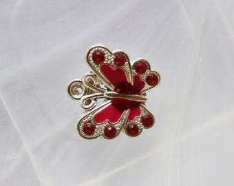 red enameled metal Butterfly charm