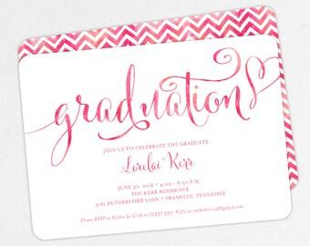 Graduation Invitation, Graduation Announcement, Printable Invite, Invitation PDF, DIY, Printed, Pink, Chevron, Script, Watercolor, Lorelai
