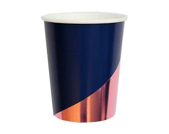 Paper Cups, Navy Blue Colorblock Party Cups