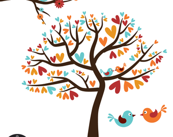Love Birds in Red, Rust, and Aqua - Vintage Fall - Digital Clip Art