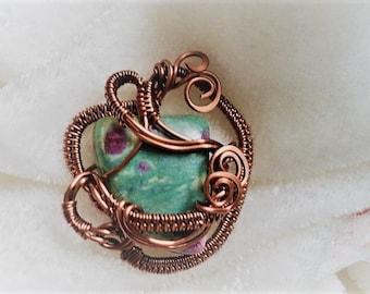Ruby in Fuschite wrapped in Antique Copper
