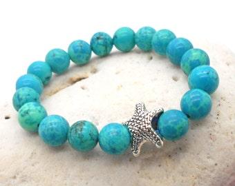 Childrens Jewelry, Beaded Bracelet with Starfish Charm - Beach Wedding, Vacation, Hawaii, Ocean, Bracelet, Starfish, Gift for Children
