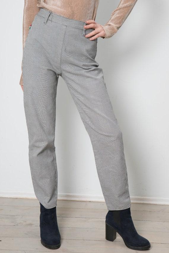 print pants MOSCHINO Vintage M S White casual goose Black pants Jeans and elegant Peace woman 90s qCB1v
