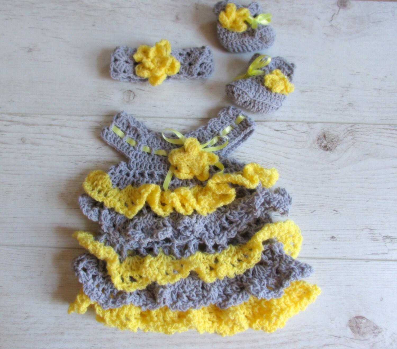 Ready to ship Crochet newborn Dress with matching headband