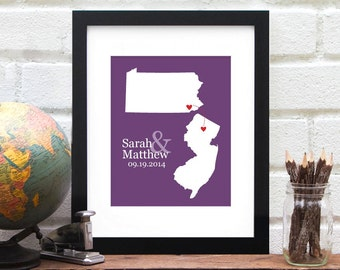 Miss You Long Distance State Map, Two States Gift, Long Distance, Personalized Wedding Map, Bridal Shower, Engagement Gift - Art Print