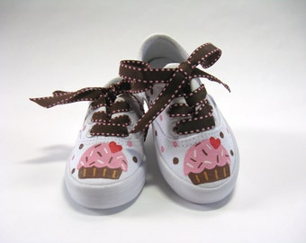 Cupcake Shoes, Sneakers for a Cupcake Theme Birthday Party Outfit, Hand Painted for Baby or Toddlers