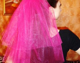 Brautschleier für einen Junggesellenabschied, Henne-Partei, Schleier für Henneparty,  Hochzeit, Handarbeit rosa 2-lagig